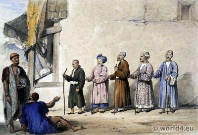 James Atkinson. Blind Beggars. Cabul. Afghan folk dresses. Traditional Afghanistan National Costumes.