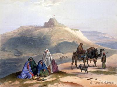 Kelaut-i-Ghiljye, the Stronghold of the Ghiljyes. Ghilzai nomads dresses. Traditional Afghanistan National Costumes.