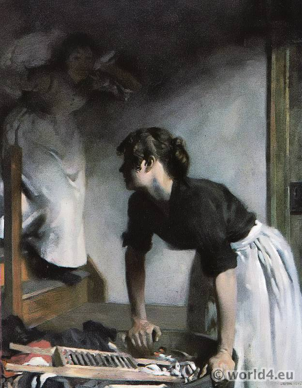 The Wash-House. From the Painting by W. Orpen. Impressionism in Great Britain.