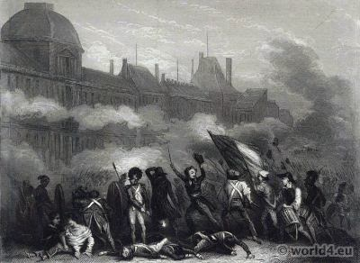The insurrection of 10 August 1792. Attack on the tuileries. French Revolution History.
