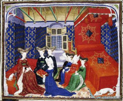 Queen Isabeau of Bavaria. Isabeau de Bavière. Costumes 15th century. Burgundy court dresses. Hennin. Medieval Headdresses