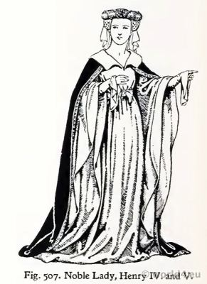 Medieval Noble Lady costume 15th century. Fashion Burgundy court dresses. Hennin. Headdresses