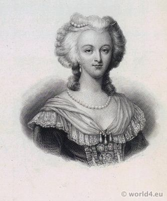 Queen Marie Antoinette. French Fashion History. Rococo Hairstyle, costume