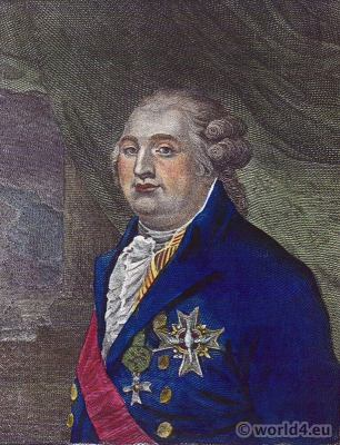 French King Louis XVI Portrait. French Revolution History. Costumes and Fashion.
