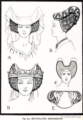 Medieval Reticulated Headdresses 15th century. Burgundy Fashion. Court dresses. Hennin.