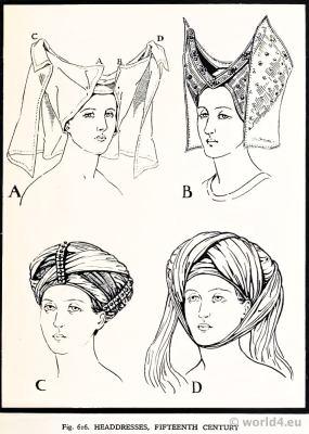 Medieval Gothic Headdresses 15th century. Burgundy Fashion. Court dresses. Hennin.