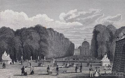 Jardin des Tuileries. French Palais des Tuileries. French Revolution History. 18th century