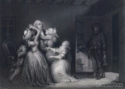 Louis XVI last interview. Marie Antoinette, Princess Royal, Madame Elisabeth, Louis XVII. French Revolution History Costumes