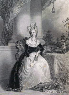 Marie Antoinette Empress. French fashion history. Portrait by Élisabeth Vigée-Lebrun 1788. Rococo costumes 18th century.
