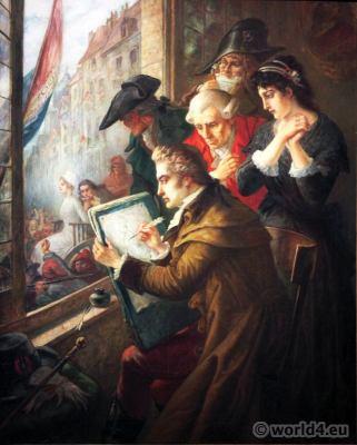Marie-Antoinette led to her execution. Painter David. Joseph-Emmanuel van den Büssche. French Revolution History