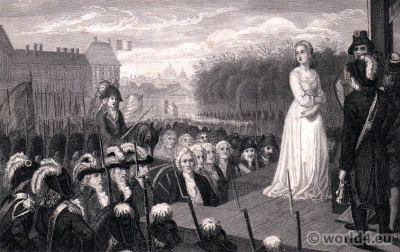 Marie Antoinette before the guillotine. French Revolution history. Directoire costumes