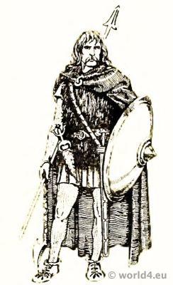 Costume Merovingian Frankish Noble warrior 4th century. Large Sword, buckle, Tribal Tattooing