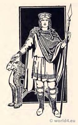 Costume Merovingian King of the Salian Franks. Clodian of the Long Hair. Merovingian dynasty.