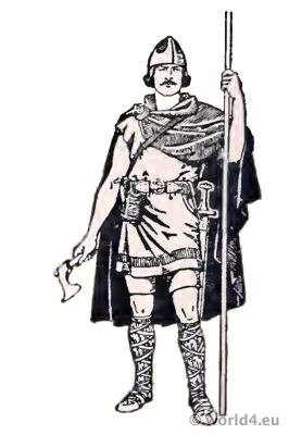 Costume Merovingian Frankish Noble warrior 4th century. Cuirass of mail, spear and amor.