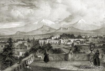 Carl Nebel. Mexico City. Tacubaya. Volcanoes. TRcostumes.
