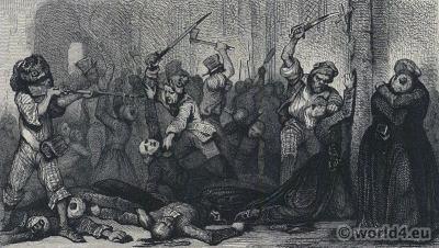 September Massacres. French Revolution History. 18th century costumes