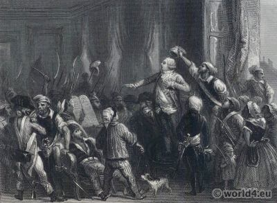 The mob at the Tuilleries. French Revolution History. Louis XVI. French King.