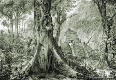 Mexican Mayan World. Totonac Zapotec. Mesoamerican ruins. Carl Nebel.