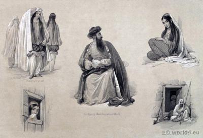 Traditional Afghanistan Caubul Costumes. James Atkinson. Shah Shuja ul Mulk.