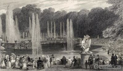 The Grand Waterworks Versailles. Royal château. Louis XIV palace. France.