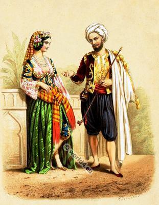 Traditional Moorish costumes. Moorish national folk costume.