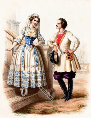 Costumes Finlandais. Alexandre Lacauchie. Les nations. Album des Costumes De Tous les Pays.