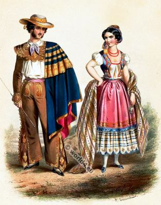 Traditional Mexican costumes. Mexico national folk costume.