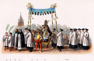 Renaissance costume Bishop of Utrecht 16th century. Choirboys costumes
