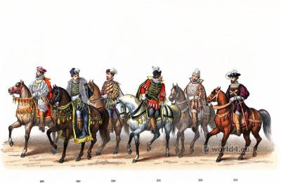 Knights of the Order of the Golden Fleece. Renaissance 16th century military costumes. Dutch Guelderian Wars.