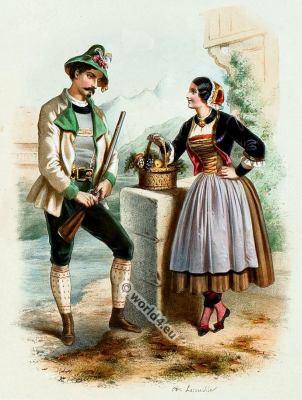 Traditional Tyrol costumes. Austrian national folk costume.