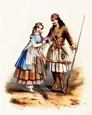 Traditional Greece costumes. Greek national folk costume.
