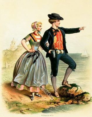 Traditional Dutch costumes. Netherlands national folk costume.