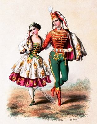 Traditional france costumes. French national folk costume.