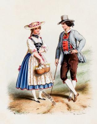 Costumes suisses. Alexandre Lacauchie. Les nations. Album des Costumes De Tous les Pays.