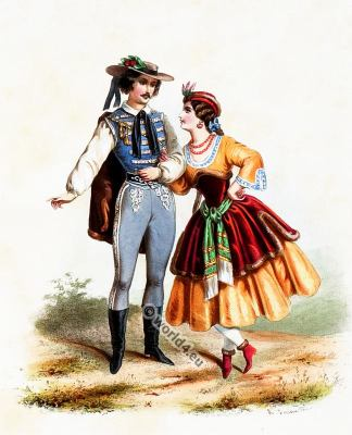 Traditional Hungary costumes. Hungarian national folk costume.