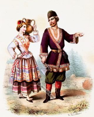 Traditional Russian costumes. Russia national folk costume.