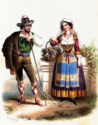 Traditional Romania costumes. Romanian national folk costume.