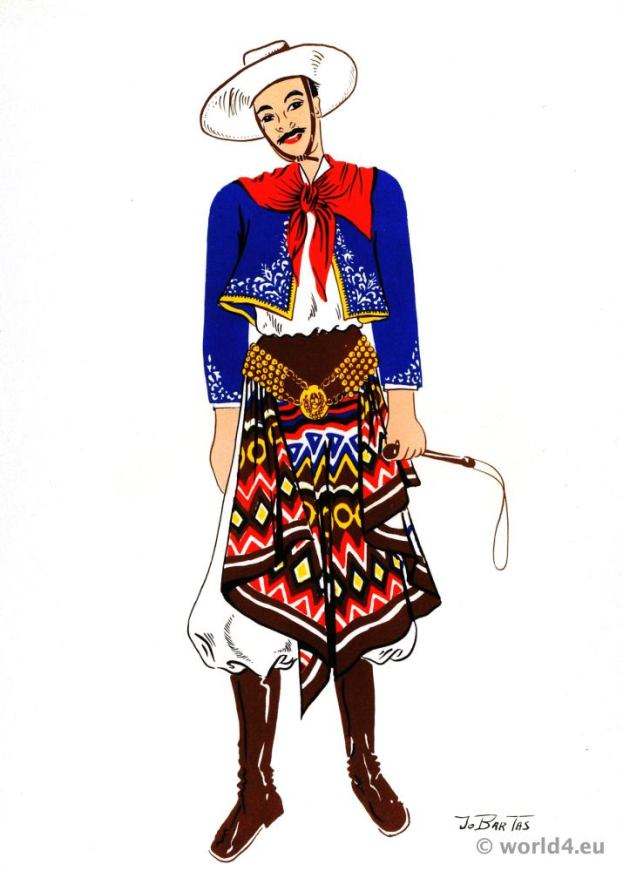Traditional South America folk dress