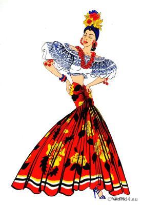 Traditional Brazil Carnival costume. Brazilian dance costume. Latin american folk dress.