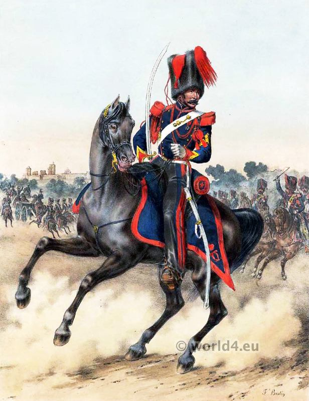 Gunner Royal Guard. Marechal quartermaster. French Army uniforms. France Military costumes