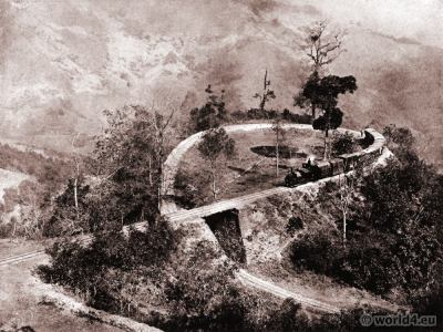 Double Loop. Darjeeling Railway at Tindharia. India. View on Himalaya. J. Burlington Smith.
