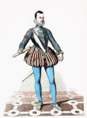 Don Juan de Austria in Spanish court dress. 16th century renaissance costume.Franz Lipperheide.