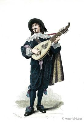 Dutch lute player. 17th century costume. Baroque period fashion