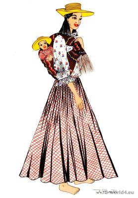 Panama hat. Latin american folk dress. Traditional Ecuador Costume.