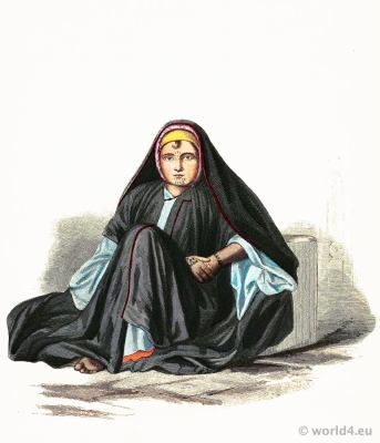 Fellah girl from Alexandria, Egypt in traditional dress.