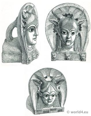 Antiques. Etruscan ceramics. Antefixes. Campana collections.