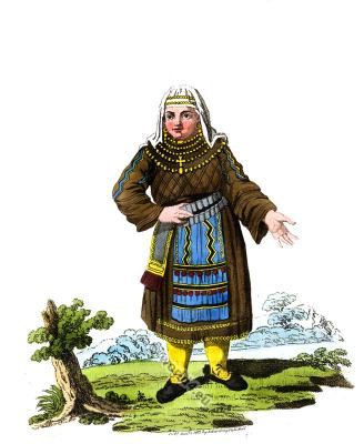 Traditional Finland folk dress. Finland national costumes