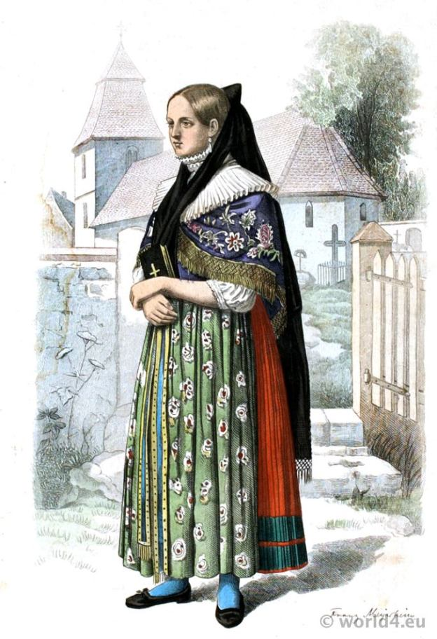 Traditional German national costume. Girl in folk dress from Wolfenbüttel, Lower Saxony Germany. Franz Lipperheide