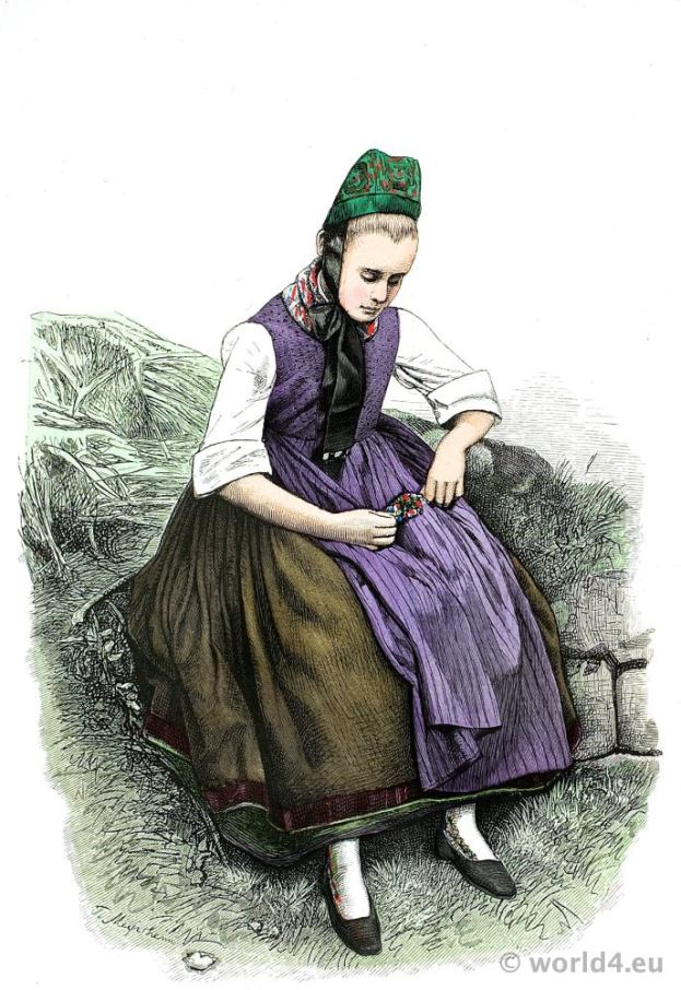 Marburg Peasant girl dress. Traditional Germany national costume. Franz Lipperheide