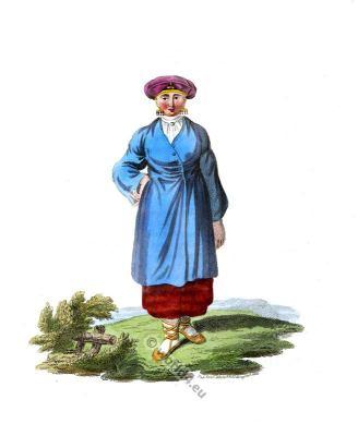 Traditional Finnish Ingria national costume. Scandinavian folk dress